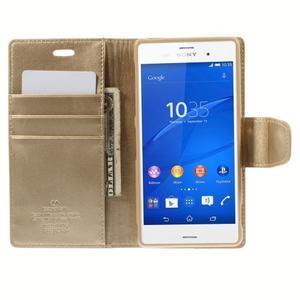 Sonata PU kožené puzdro pre mobil Sony Xperia Z3 - zlaté - 6