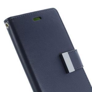 Luxury PU kožené puzdro pre mobil Sony Xperia Z3 - tmavomodré - 6