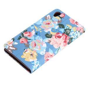 kvetinové puzdro pre mobil Sony Xperia Z3 - modré - 6