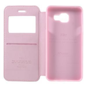 PU kožené puzdro s okienkom pre Samsung Galaxy A3 (2016) - ružové - 6