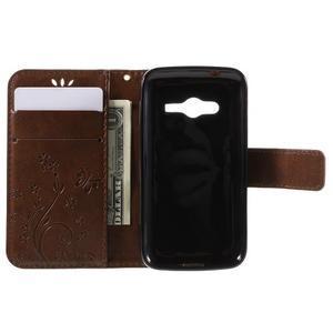 Butterfly puzdro pre mobil Samsung Galaxy Trend 2 Lite - hnedé - 6