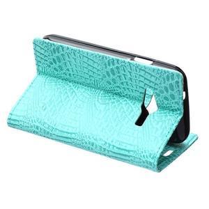Croco peňaženkové puzdro pre Samsung Galaxy Trend 2 Lite - cyan - 6