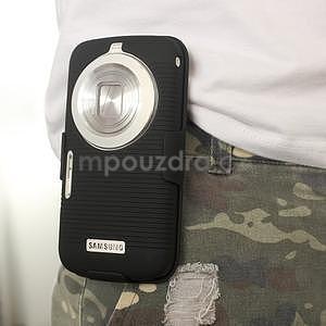 Odolný pogumovaný kryt so stojanom pre Samsung Galaxy K Zoom - čierny - 6