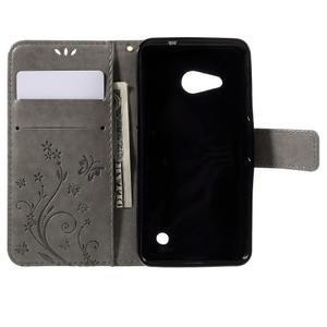 Butterfly koženkové puzdro na Microsoft Lumia 550 - šedé - 6