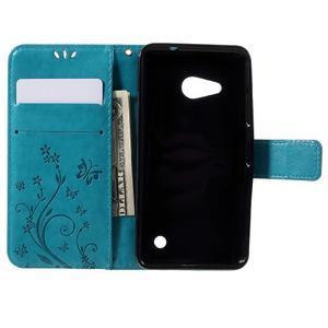Butterfly koženkové puzdro na Microsoft Lumia 550 - modré - 6