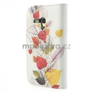 Pěněženkové kožené puzdro na Samsuing Galaxy S3 mini - listí - 6