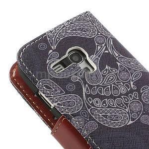 Pěněženkové kožené puzdro na Samsuing Galaxy S3 mini - skull - 6