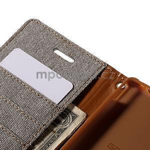 Canvas textilné/koženkové puzdro pre Sony Xperia M4 Aqua - sivé - 6