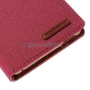 Canvas textilní/koženkové pouzdro na Sony Xperia M4 Aqua - červené - 6