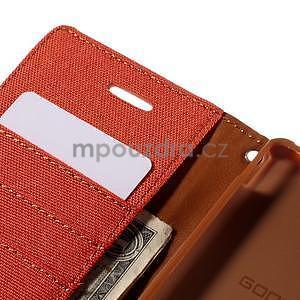 Canvas textilné/koženkové puzdro pre Sony Xperia M4 Aqua - oranžové - 6