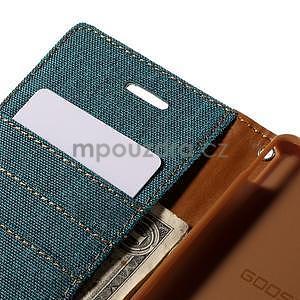 Canvas textilné / koženkové puzdro pre Sony Xperia M4 Aqua - zelenomodré - 6