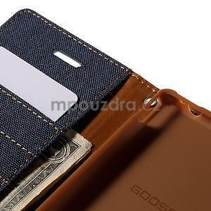Canvas textilné/koženkové puzdro pre Sony Xperia M4 Aqua - tmavomodré - 6