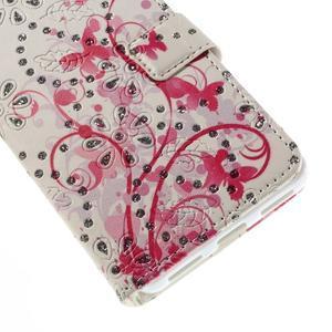 Peňaženkové puzdro s třpytivými flitry pre Huawei Honor 7 - červení motýlci - 6