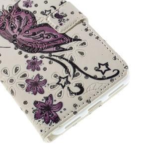 Peňaženkové puzdro s třpytivými flitry pre Huawei Honor 7 - nádherný motýl - 6