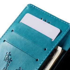 Butterfly PU kožené puzdro na Huawei Ascend P8 Lite - modré - 6