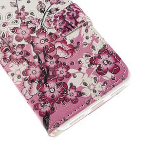 Peňaženkové puzdro s třpytivými flitry pre Huawei Honor 7 - kvetoucí větvička - 6