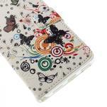 Peňaženkové puzdro s třpytivými flitry pre Huawei Honor 7 - motýlci - 6/7