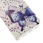 Peňaženkové puzdro s třpytivými flitry pre Huawei Honor 7 - modrý motýl - 6/7