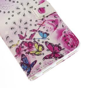Peňaženkové puzdro s třpytivými flitry pre Huawei Honor 7 - květinoví motýlci - 6