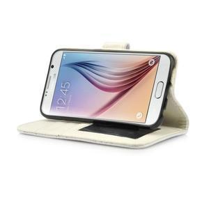 Croco motiv koženkového pouzdra pre Samsung Galaxy S6 - biele - 6
