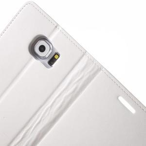 Diary PU kožené puzdro pre mobil Samsung Galaxy S6 - biele - 6