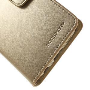 Diary PU kožené puzdro pre mobil Samsung Galaxy S6 - zlaté - 6