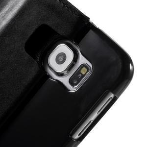 Luxury textilní/koženkové puzdro na Samsung Galaxy S6 - čierné - 6