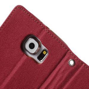 Luxury textilní/koženkové puzdro na Samsung Galaxy S6 - červené - 6