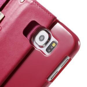 Luxury textilní/koženkové puzdro na Samsung Galaxy S6 - rose - 6