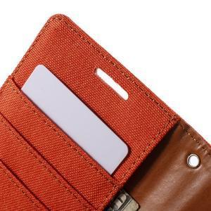 Luxury textilné/koženkové puzdro pre Samsung Galaxy S6 - oranžové - 6