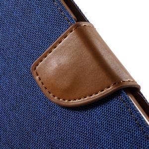 Luxury textilní/koženkové puzdro na Samsung Galaxy S6 - modré - 6