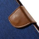 Luxury textilní/koženkové puzdro na Samsung Galaxy S6 - modré - 6/7