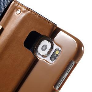 Luxury textilné/koženkové puzdro pre Samsung Galaxy S6 - jeans - 6