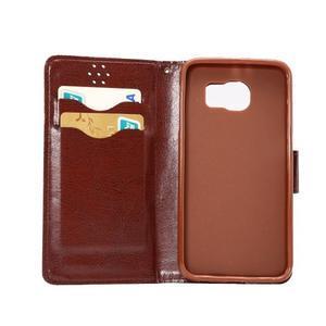 Business látkové/PU kožené puzdro pre Samsung Galaxy S6 - svetlo hnedé - 6