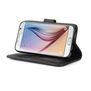 Croco motiv koženkového pouzdra na Samsung Galaxy S6 - čierné - 6