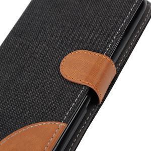 Jeans textilní/koženkové pouzdro na Sony Xperia E4 - černé - 6