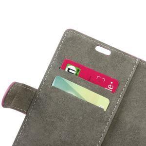 Peňaženkové PU kožené puzdro pre mobil Honor 7 Lite - rose - 6