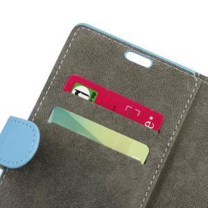 Peňaženkové PU kožené puzdro pre mobil Honor 7 Lite - modré - 6