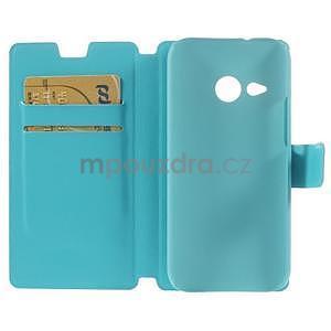 Tyrkysové peňaženkové puzdro pre HTC One mini 2 - 6