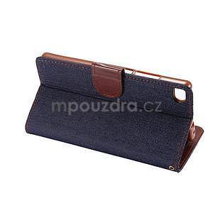 Štýlové peňaženkové puzdro Jeans na Huawei Ascend P8 -  čiernomodré - 6