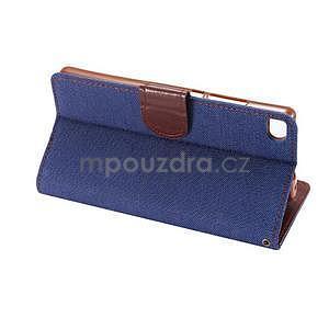 Štýlové peňaženkové puzdro Jeans na Huawei Ascend P8 - tmavomodré - 6