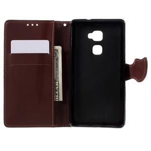 Knižkové PU kožené puzdro na mobil Huawei Mate S - červené - 6