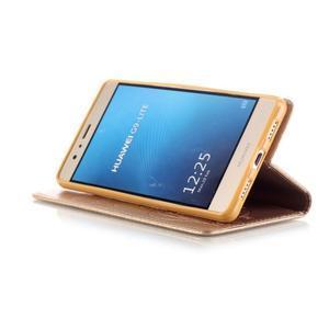 Magicfly knížkové pouzdro na telefon Huawei P9 Lite - zlaté - 6