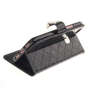 Luxury PU kožené peněženkové pouzdro na Huawei P9 Lite - černé - 6
