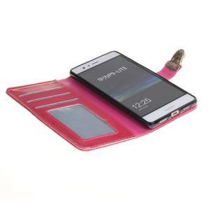 Luxury PU kožené peňaženkové puzdro na Huawei P9 Lite - rose - 6