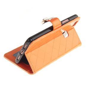 Luxury PU kožené peňaženkové puzdro na Huawei P9 Lite - oranžové - 6