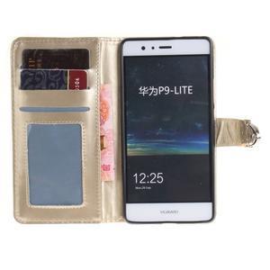 Luxury PU kožené peněženkové pouzdro na Huawei P9 Lite - zlaté - 6