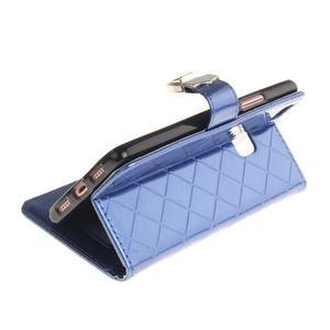 Luxury PU kožené peněženkové pouzdro na Huawei P9 Lite - modré - 6