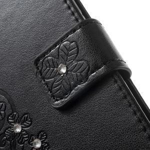 Cloverleaf penženkové pouzdro s kamínky na Huawei P9 Lite - černé - 6