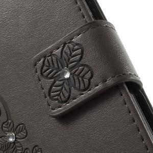 Cloverleaf penženkové pouzdro s kamínky na Huawei P9 Lite - šedé - 6